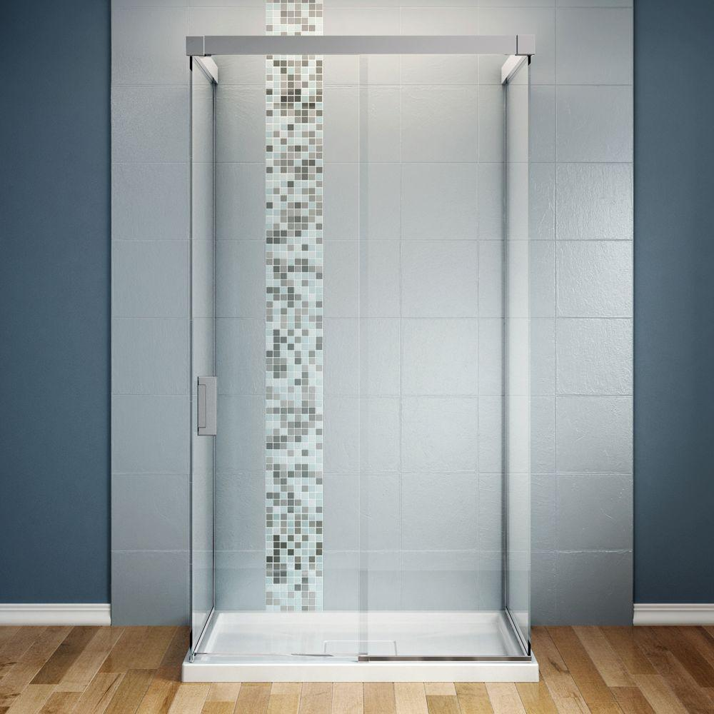 MAAX Influence 36 in. x 48 in. x 88 in. Standard Fit Shower Kit with Clear Glass in Chrome