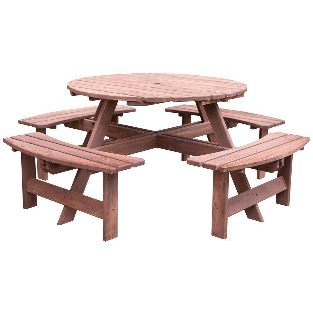 8-Person Brown Round Wooden Outdoor Patio Deck Garden Picnic Table
