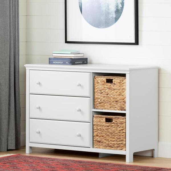 Cotton Candy 3 Drawer Pure White Dresser. By South Shore