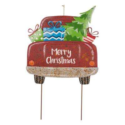 31.89 in. H Rusty Metal Christmas Truck Yard Stake or Standing Decor or Wall Decor