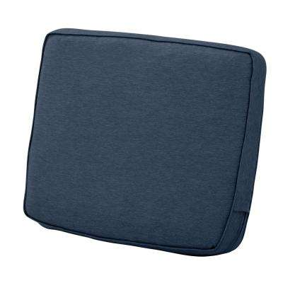 25 in. W x 22 in. H x 4 in. T Montlake Heather Indigo Blue Rectangular Outdoor Lounge Chair Back Cushion