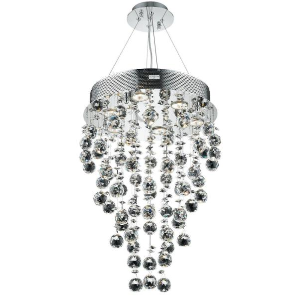Timeless Home 16 in. L x 16 in. W x 24 in. H 7-Light Chrome with Clear Crystal Contemporary Pendant
