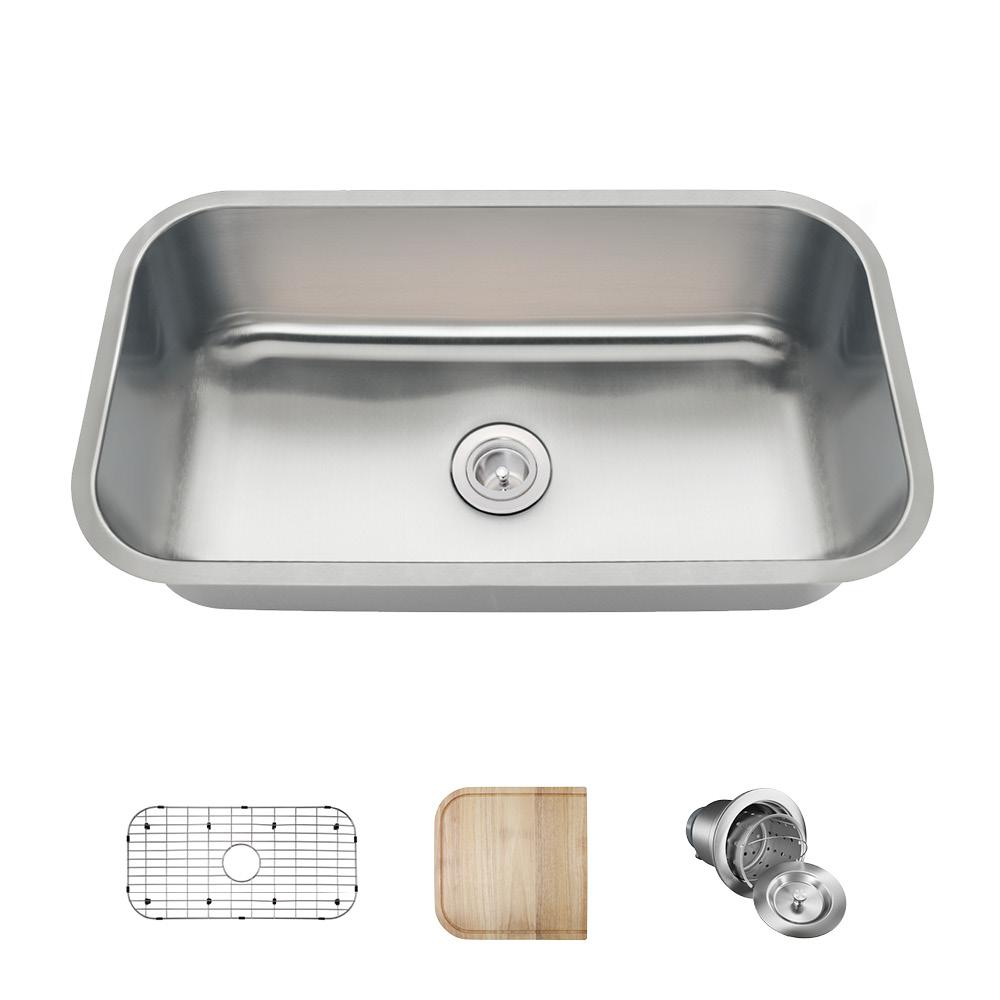All In One Undermount Stainless Steel 32 Single Bowl Kitchen Sink