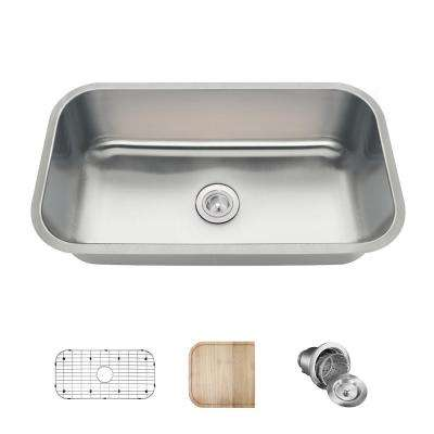 All-in-One Undermount Stainless Steel 32 in. Single Bowl Kitchen Sink in 16-Gauge