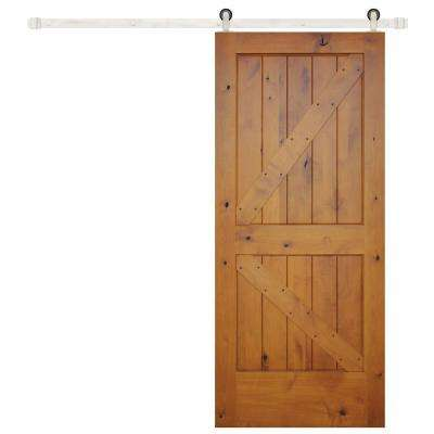 36 in.x 84 in. Rustic Prefinished 2-Panel V-Groove Left Knotty Alder Wood Barn Door with Stainless Sliding Door Hardware