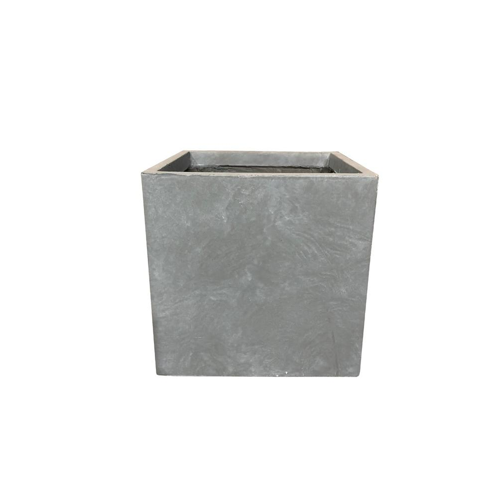 KANTE 16 in. Tall Slate Gray Lightweight Concrete Square Modern Outdoor Planter