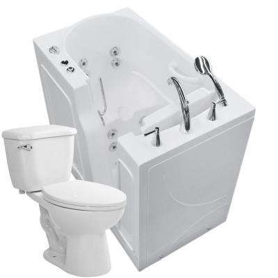 45.75 in. Walk-In Whirlpool Bathtub in White with 1.28 GPF Single Flush Toilet
