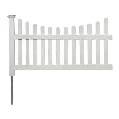 3.5 ft. H x 6 ft. W Permanent All American Vinyl Picket Fence Panel Kit with No-Dig Anchor and Cap