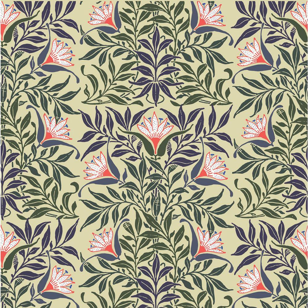 Debut Collection Flower Vine in Yellow/Green Premium Matte Wallpaper