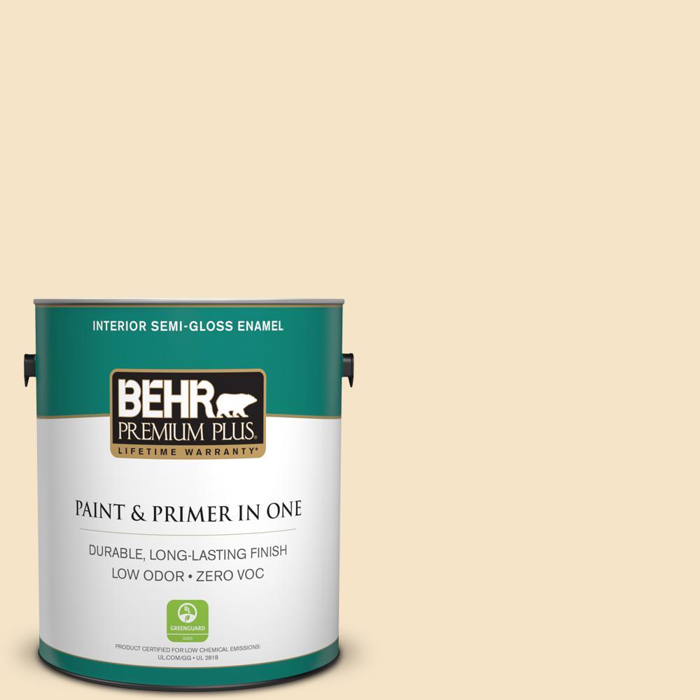 BEHR Premium Plus 1-gal. #330C-2 Lightweight Beige Zero VOC Semi-Gloss Enamel Interior Paint