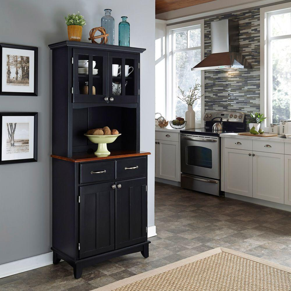 Home Styles Black And Natural Buffet With Hutch 5001 0041 42   The Home  Depot