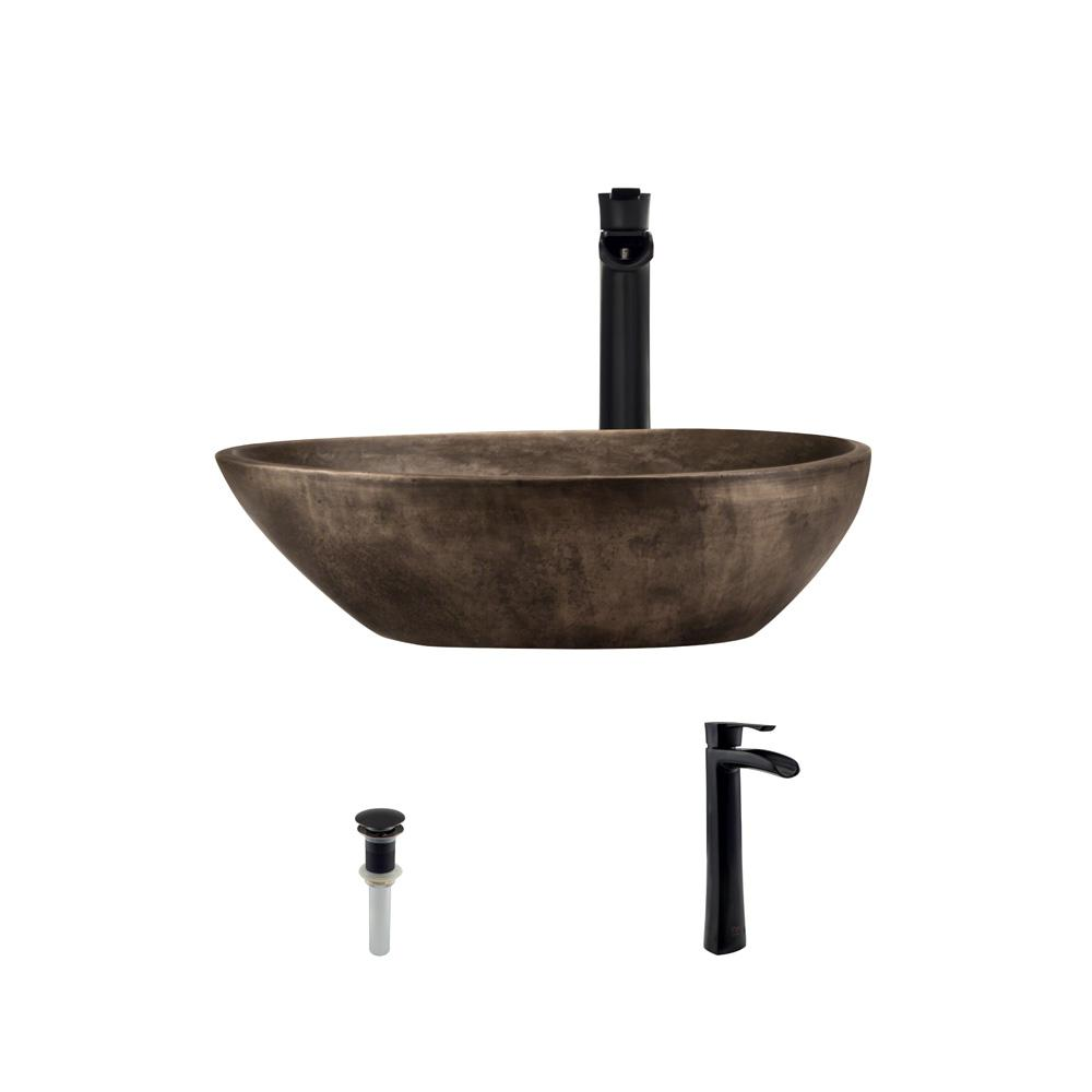 Mr Direct Vessel Sink In Bronze With 731 Faucet And Pop Up Drain Antique