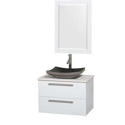 Amare 30 in. Vanity in Glossy White with Solid-Surface Vanity Top in White, Granite Sink and 24 in. Mirror