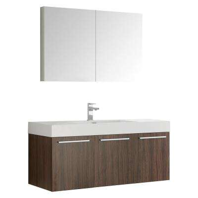 Vista 48 in. Vanity in Walnut with Acrylic Vanity Top in White with White Basin and Mirrored Medicine Cabinet