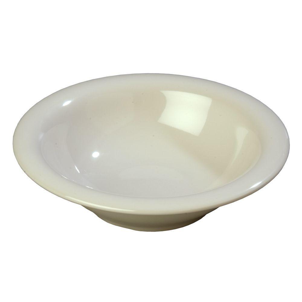 12.9 oz., 7.25 in. Diameter Melamine Rimmed Bowl in Bone (Case