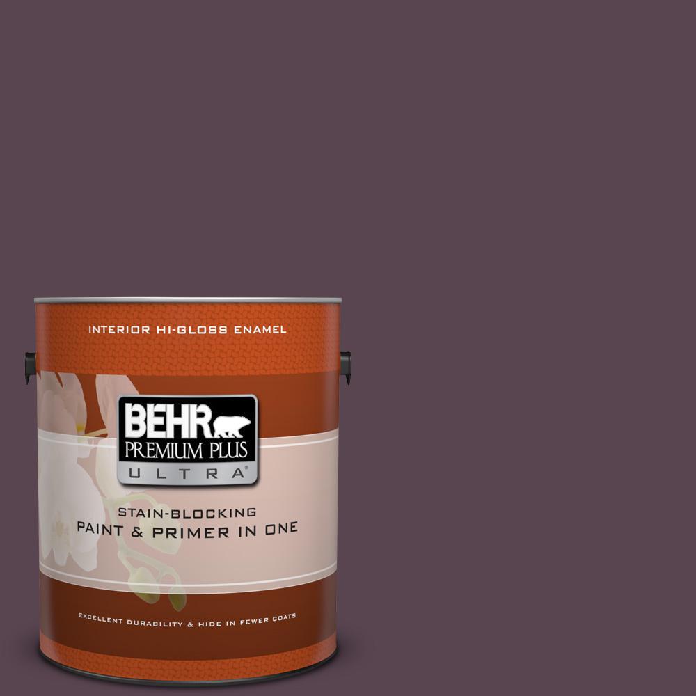 1 gal. #100F-7 Deep Aubergine Hi-Gloss Enamel Interior Paint