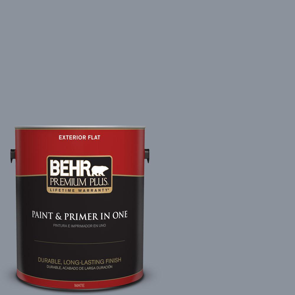 BEHR Premium Plus 1-gal. #PPF-28 Blue Dusk Flat Exterior Paint