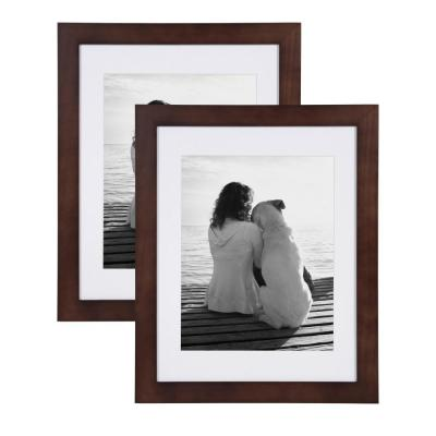 Museum 14 in. x 18 in. Matted to 11 in. x 14 in. Walnut Brown Picture Frame (Set of 2)