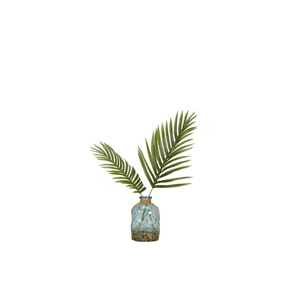 Indoor Cycas Palm Fronds in Blue Bottle Vase