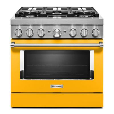 36 in. 5.1 cu. ft. Smart Dual Fuel Range with True Convection and Self- Cleaning in Yellow Pepper