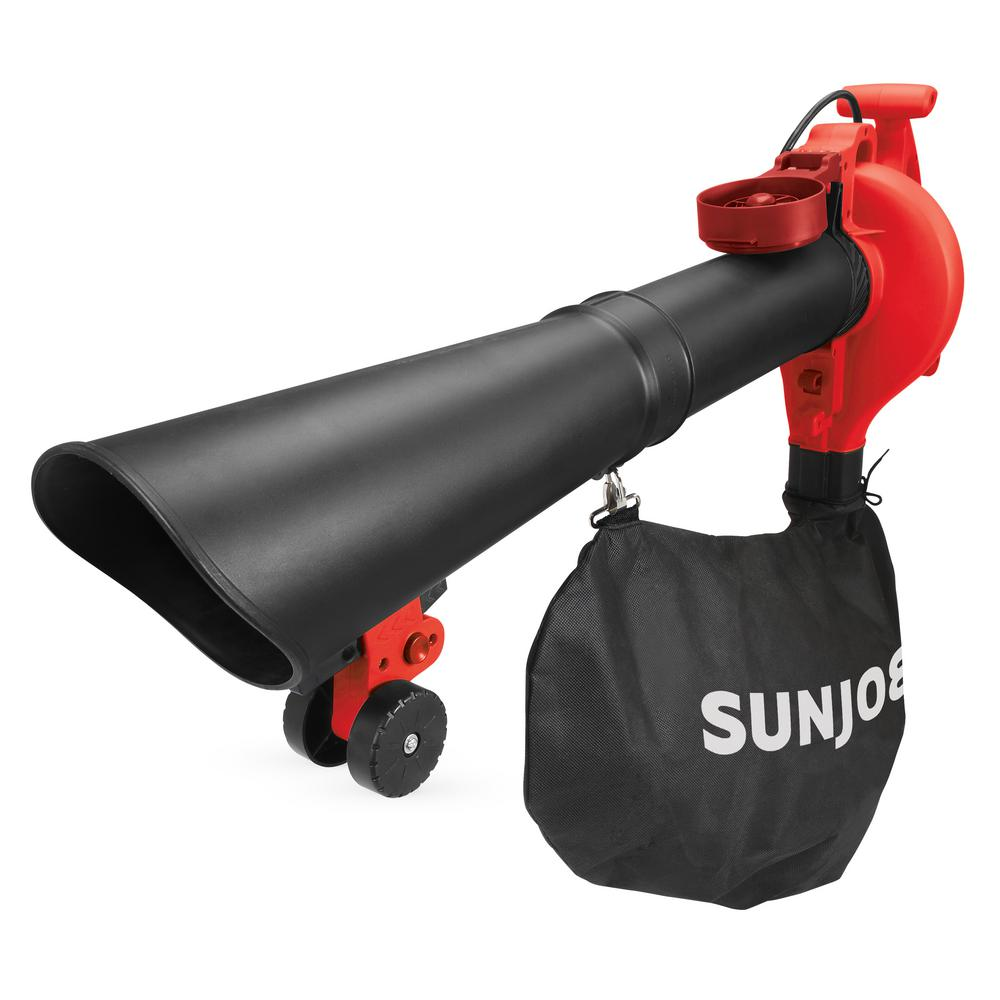 Sun Joe 250 MPH 440 CFM 14 Amp Electric Handheld Blower/Vacuum/Mulcher with Gutter Attachment in Red (Factory Refurbished)
