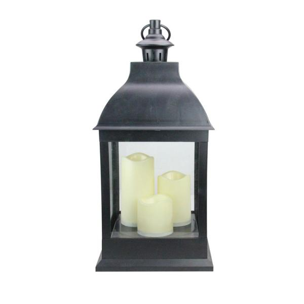 Northlight 20 in. Large Black Candle Lantern with 3-Flameless LED Candles