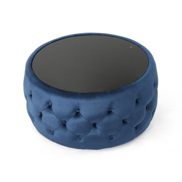 Chana Glam Cobalt Velvet and Tempered Glass Ottoman-Style Coffee Table