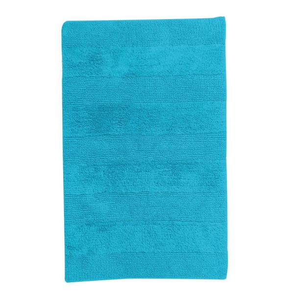 The Company Store Aruba Blue 24 in. x 24 in. Cotton Reversible Bath Rug