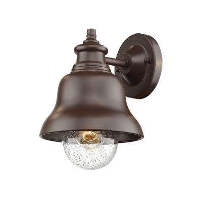 Single Light 10 in. High Powder Coated Bronze Outdoor Wall Lantern Sconce with Glass Shade