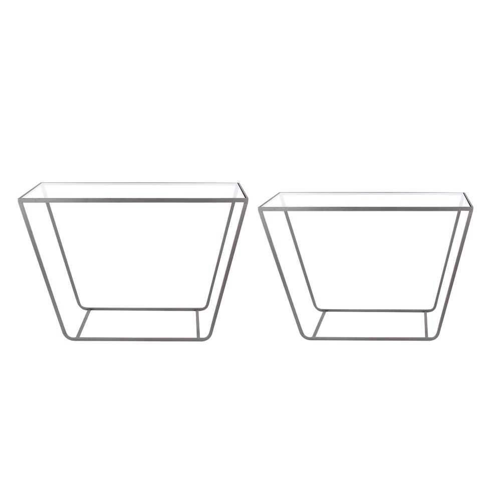 Modern Rectangular Prism Glass Console Tables (Set of 2)