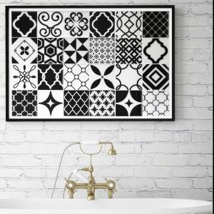Smart Tiles Vintage Bilbao 9 inch W x 9 inch H Black and White Peel and Stick... by Smart Tiles
