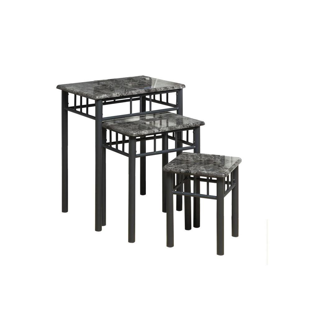 Monarch Specialties Monarch 26.75 in. Marble with Charcoal Metal Nesting Table Set in Grey (3-Pieces)