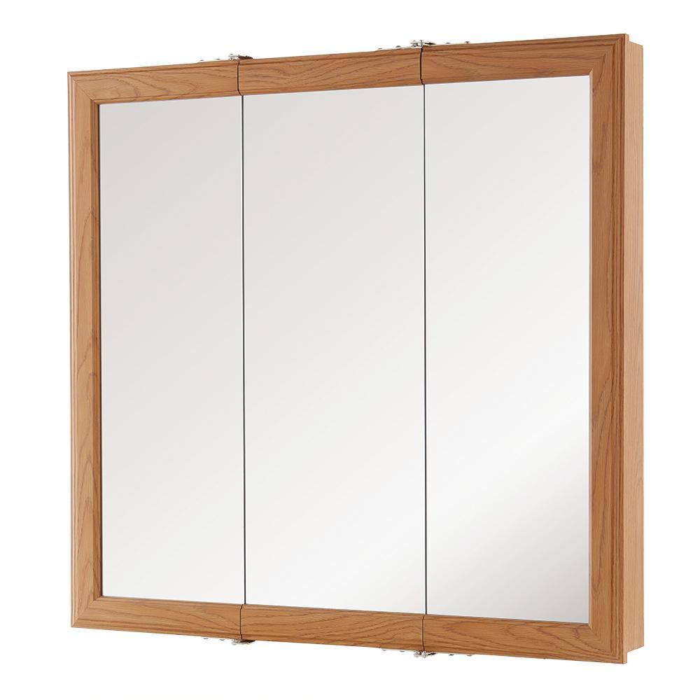 30 in. W x 29 in. H Fog Free Framed Surface-Mount Tri-View Bathroom Medicine Cabinet in Oak