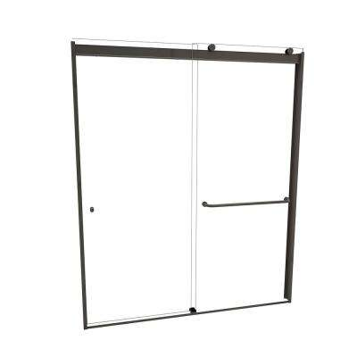 3000V Series 48 in. W x 70 in. H Semi-Frameless Sliding Shower Door in Oil Rubbed Bronze with Single-Sided Towel Bar