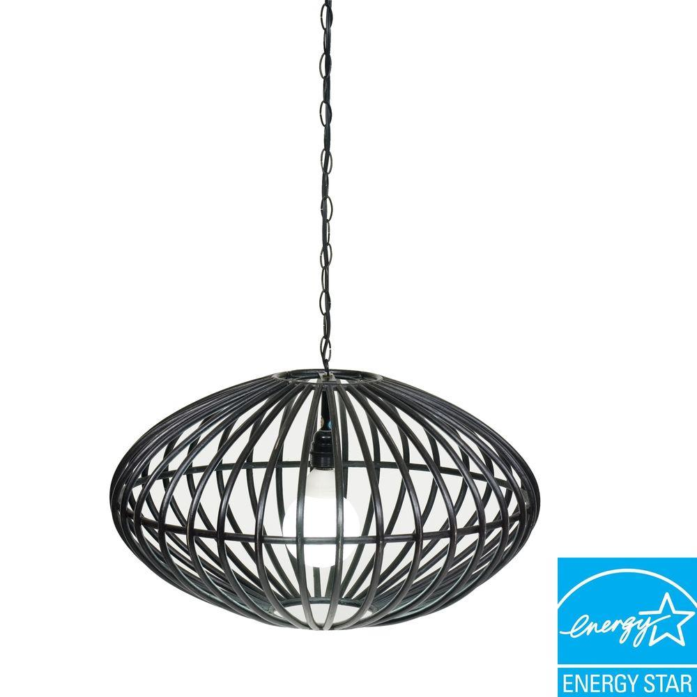 Padma's Plantation Lina collection Ellipse 1-Light Rustic Black Hanging Lamp -DISCONTINUED