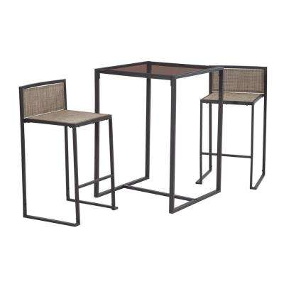 Brown 3-Piece Metal Drake High Outdoor Dining Set