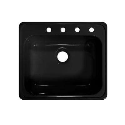 Style X Drop-In Acrylic 25x22x9 in. 4-Hole Single Bowl Kitchen Sink in Black