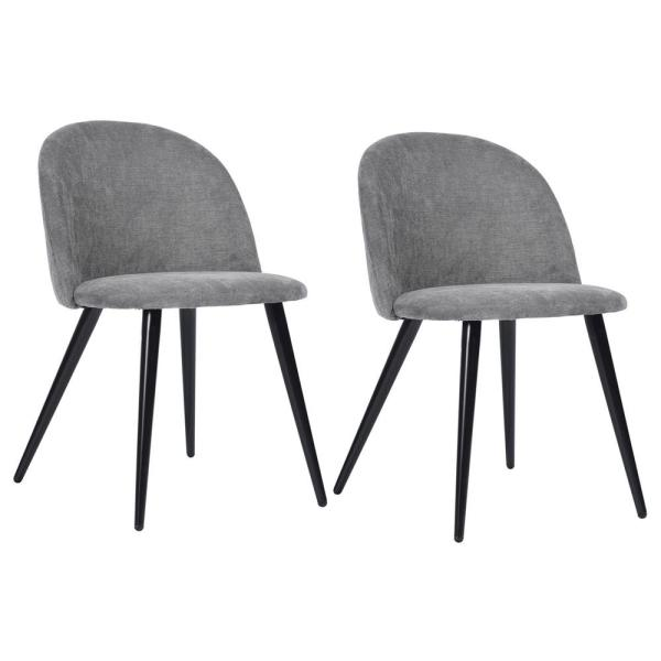 Grey Dining Chair Velvet Accent Leisure Upholstered Side Chairs (Set of 2)