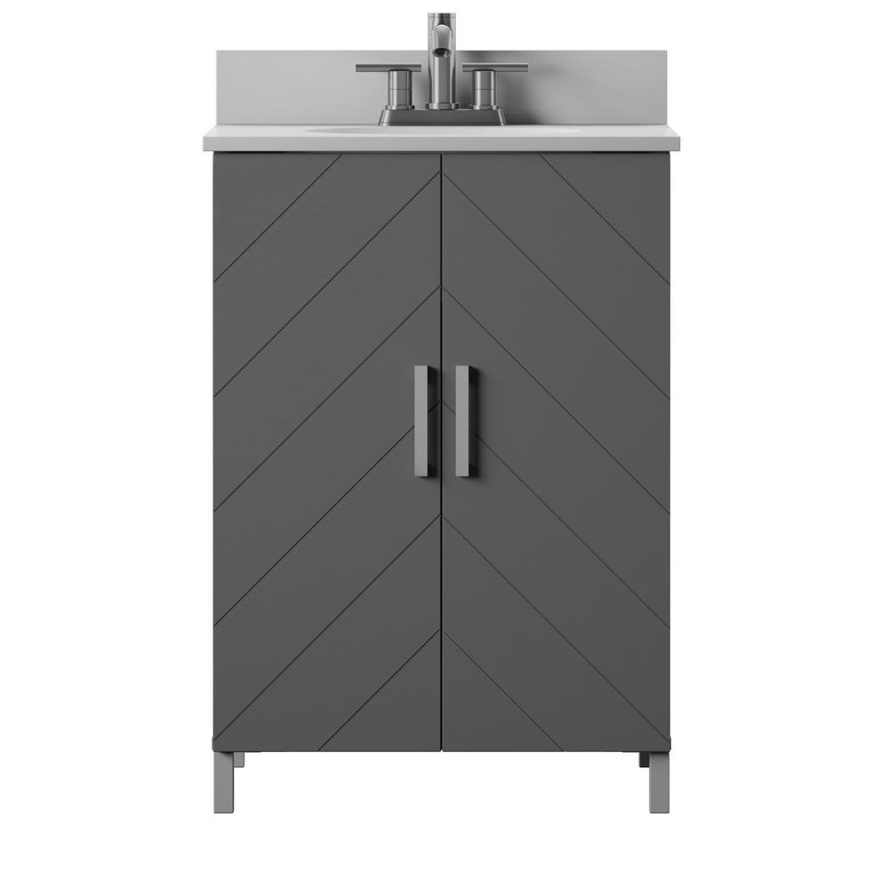 24 in. Bath Vanity in Antique Gray, Contemporary Chevron Doors with Vanity Top in White Stone with Basin and metal legs