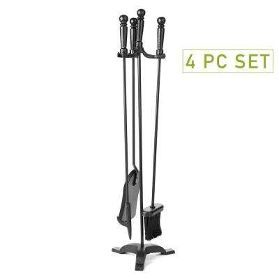 3-Piece Stand Alone Fire Place Set, Iron Steel Construction, Includes Stand, Brush, Shovel/Scooper, Poker, Black