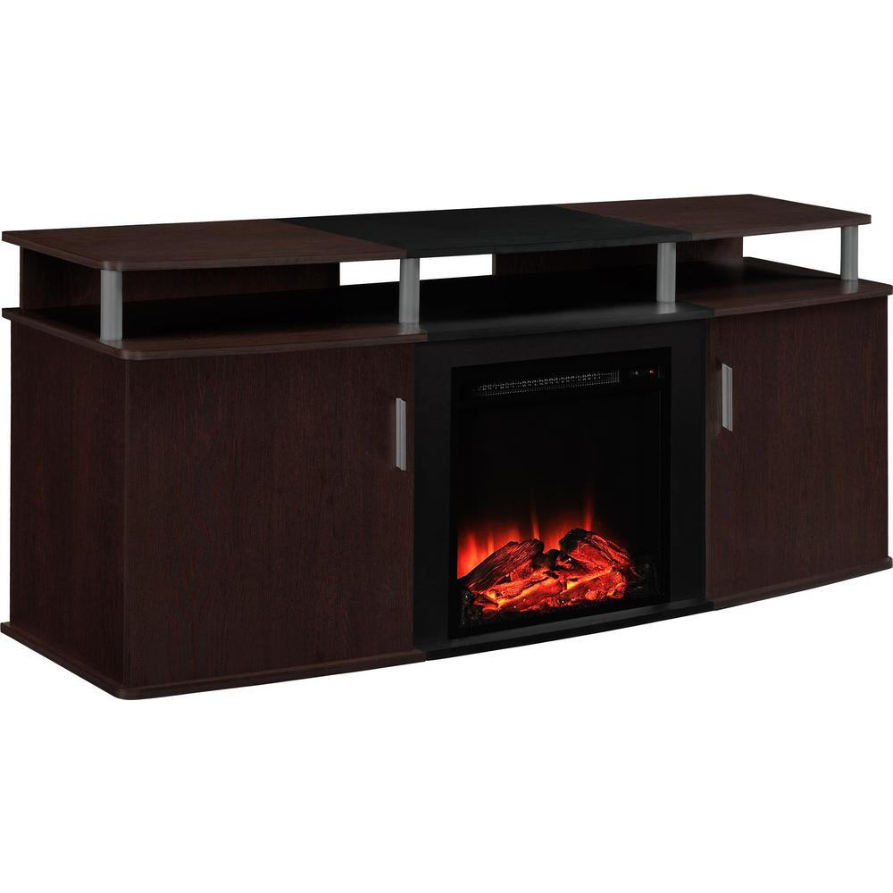 Ameriwood Home Cherry And Black Winsdsor 70 In Tv Stand
