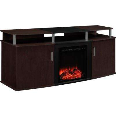 Cherry and Black Winsdsor 70 in. TV Stand with Electric Fireplace