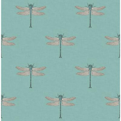Catalina Metallic Orange and Powder Blue Dragonfly Wallpaper