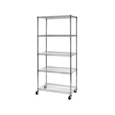 "36"" W x 18"" D x 72"" H UltraDurable Commercial-Grade 5-Tier NSF-Certified Steel Wire Shelving with Wheels"