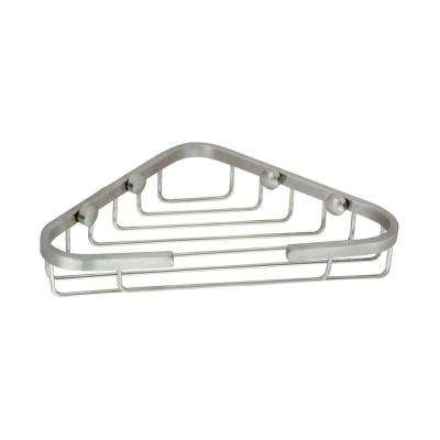 Large 6 in. x 6 in. Stainless Steel Corner Soap Basket in Satin Nickel