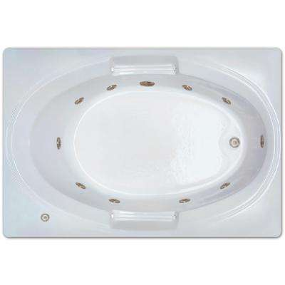 5 ft. Left Drain Drop-in Rectangular Whirlpool Bathtub in White