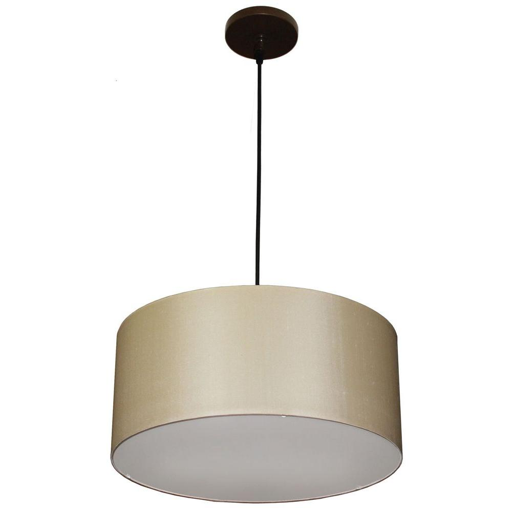 Filament Design 3-Light Bronze Pendant with Ivory Silk Shade