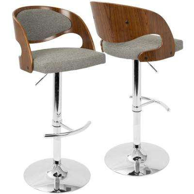 Pino Adjustable Height Walnut and Grey Fabric Bar Stool