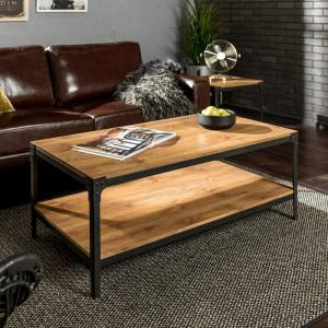 Angle Iron Barnwood Storage Coffee Table