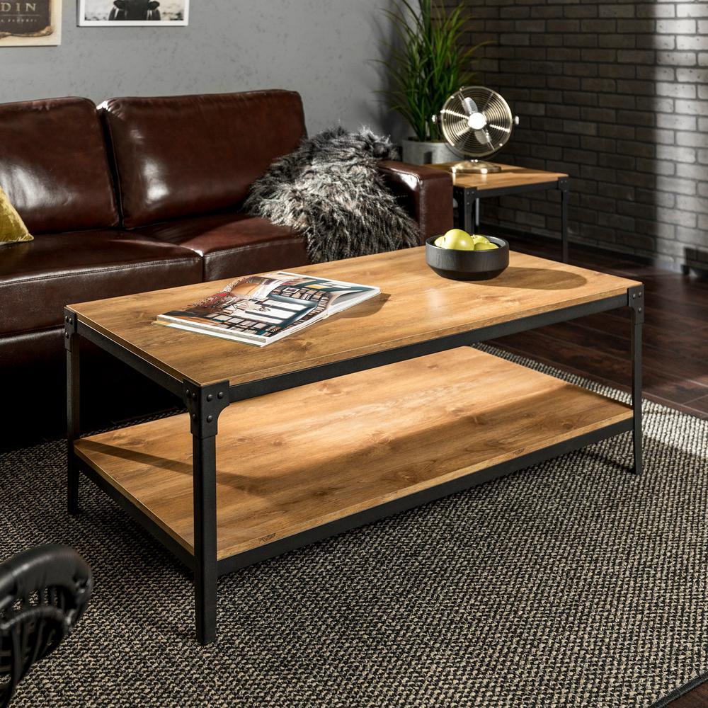 Walker Edison Furniture Company Angle Iron Barnwood Storage Coffee Table
